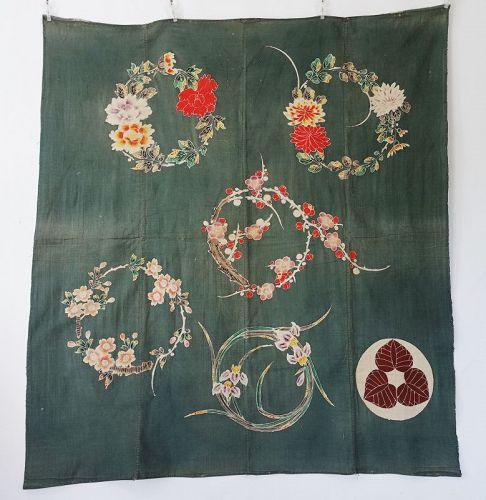 Japanese Antique Textile Cotton Futonji with Tsutsugaki