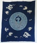 Japanese Antique Textile Tsutsugaki Futonji with Crane Crest