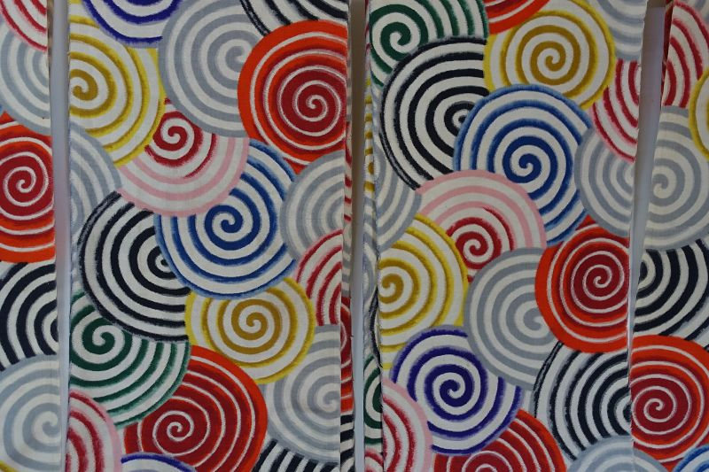 Japanese Vintage Textile Meisen Kimono Cloth with Colorful Spiral