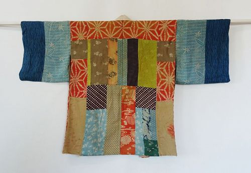 Japanese Antique Textile Patched Silk Han-Juban Under Kimono