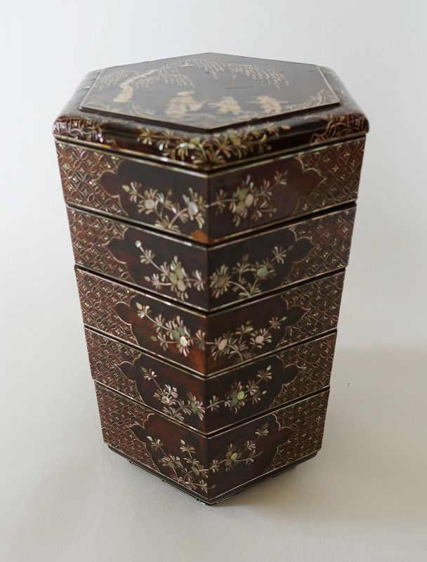 Chinese Antique Lacquer Tiered Food Boxes with Shell Inlay