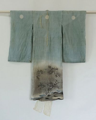 Japanese Antique Textile Asa Baby's Ceremonial Kimono with Charm