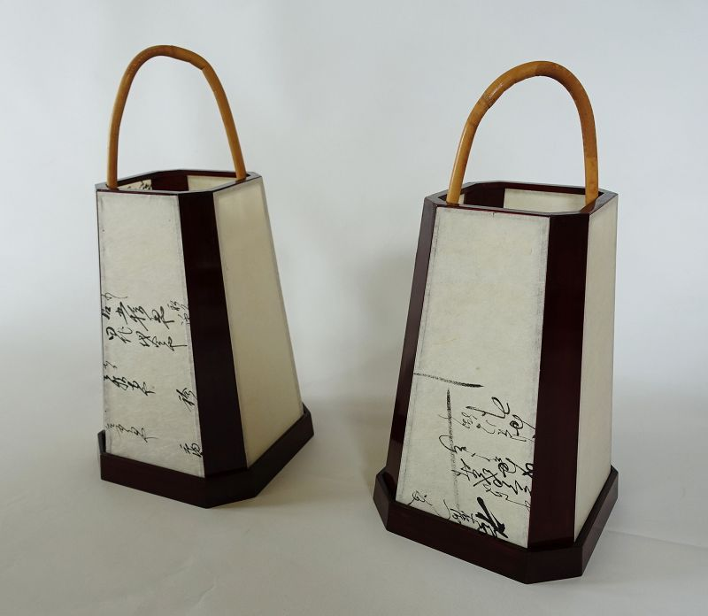 Japanese Vintage Craft Pair of Urushi Ashi-moto Andon Lantern