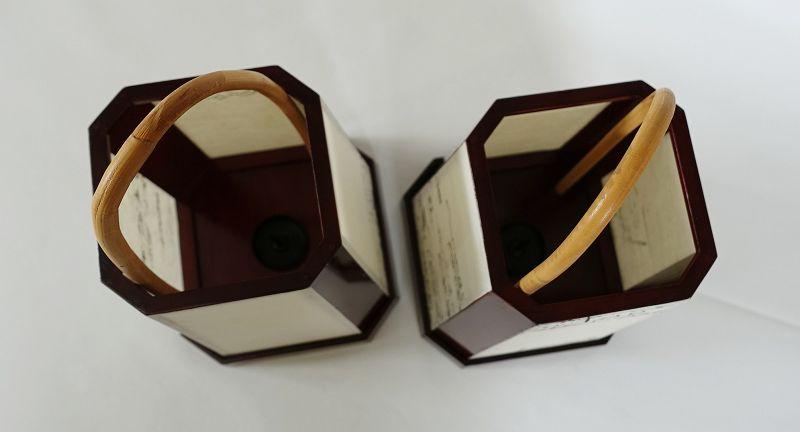Japanese Vintage Craft Pair of Urushi Ashi-moto Andon Lantern