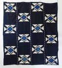Japanese Antique Textile Cotton Kurume Kasuri Futonji with Asagi