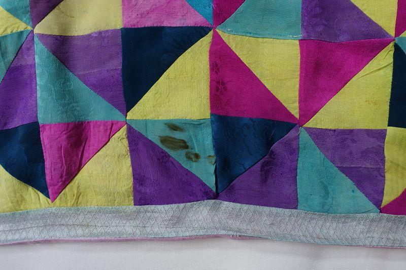 Korean Antique Textile Pojagi made of Figured Silk Fragments