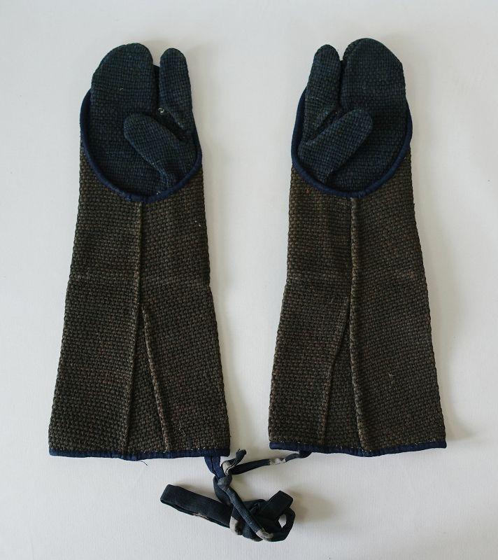 Japanese Antique Textile Fireman's Gloves with Sashiko
