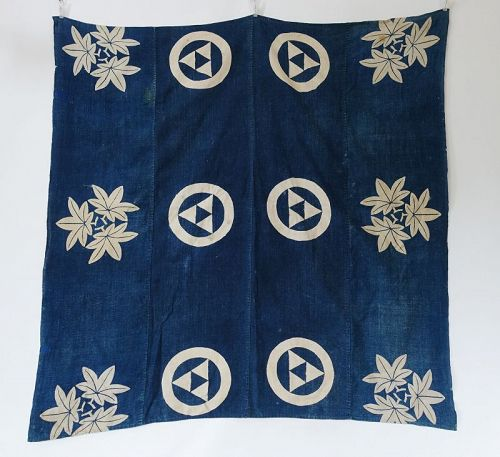 Japanese Antique Textie Indigo Katazome Furoshiki Wrapping Cloth