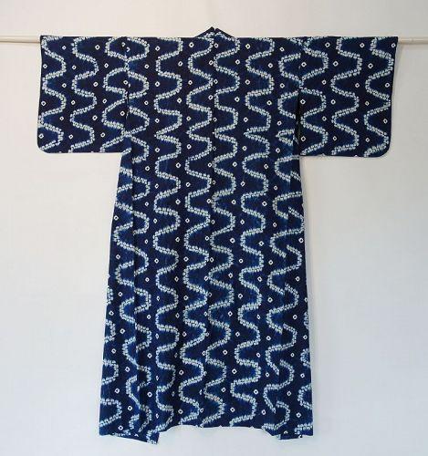 Japanese Vintage Cotton Kimono with Shibori Vegetable Indigo Dye