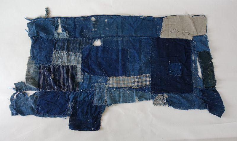Japanese Antique Textile Fragment of Boro Futonji Indigo