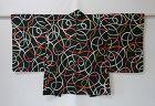 Japanese Vintage Textile Meisen Haori Jacket with Curve Line