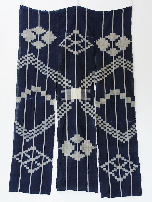 Japanese Antique Textile Asa Hemp Indio Kasuri Noren