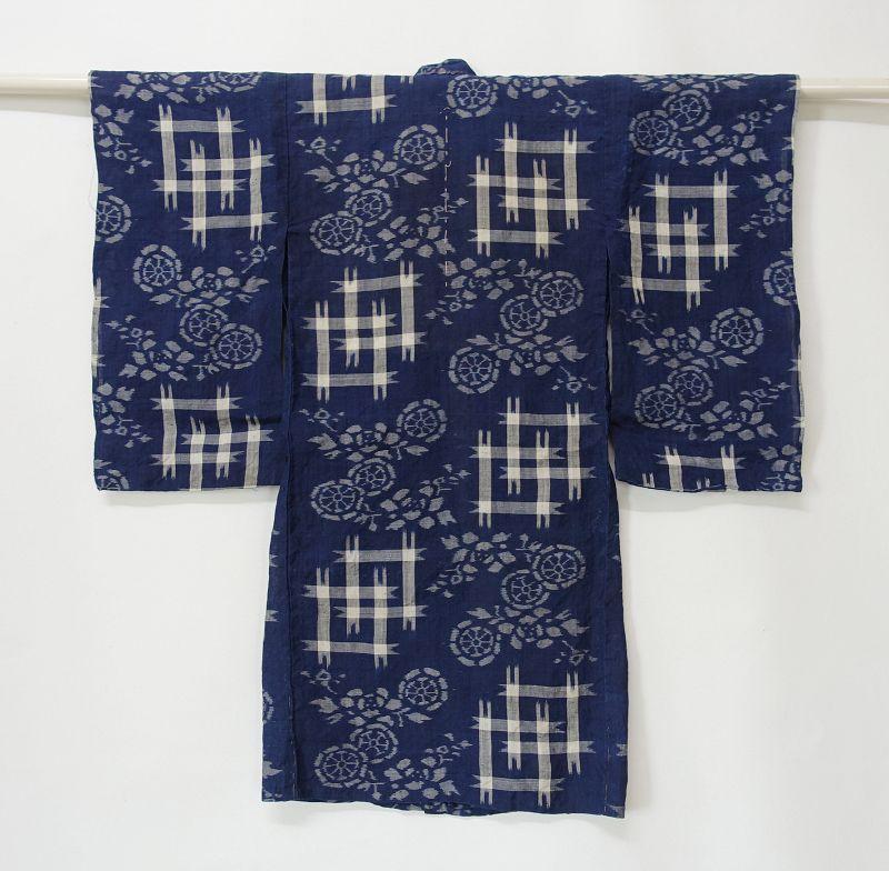 Japanese Antique Textile Asa Kasuri Child's Kimono with Se-mamori