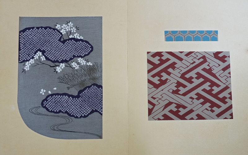 Japanese Vintage Sample Book Woodblock Print Design for Kimono