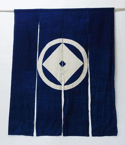 Japanese Vintage Textile Cotton Indigo Noren with Family Crest