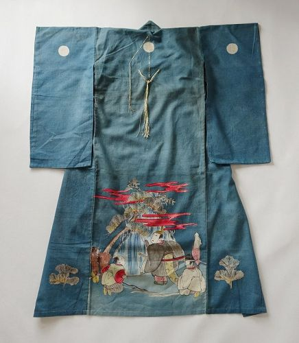 Japanese Antique Textile Baby's Ceremonial Kimono with Hand-painting