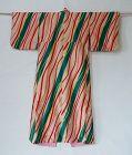 Japanese Vintage Textile Meisen Kimono with Curve Line Stripes