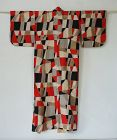 Japanese Vintage Textile Meisen Kimono Geometric Black, Red, White
