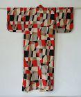 Japanese Vintage Textile Meisen Kimono Geometric Black, Red, White