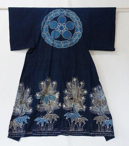 Japanese Antique Textile Cotton Yogi Futonji with Tsutsugaki