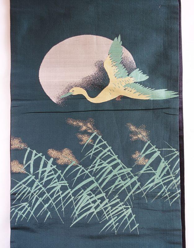 Japanese Vintage Textile Obi Sash with Woven Autumn Motif