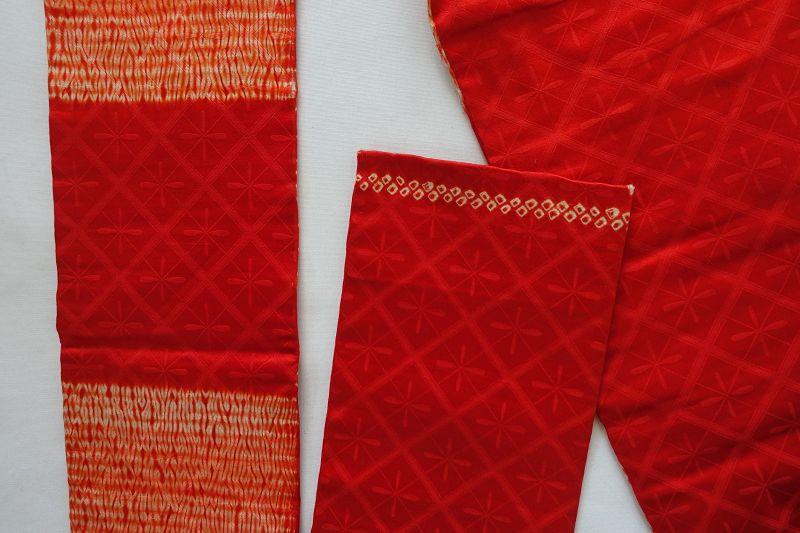 Japanese Vintge Textile Nagoya-obi Sash with Embroidery & Shibori
