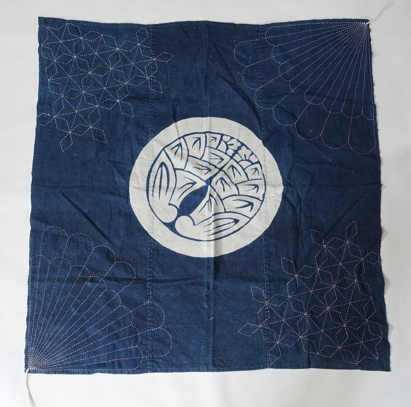 Japanese Antique Textile Indigo Furoshiki with Crest & Sashiko