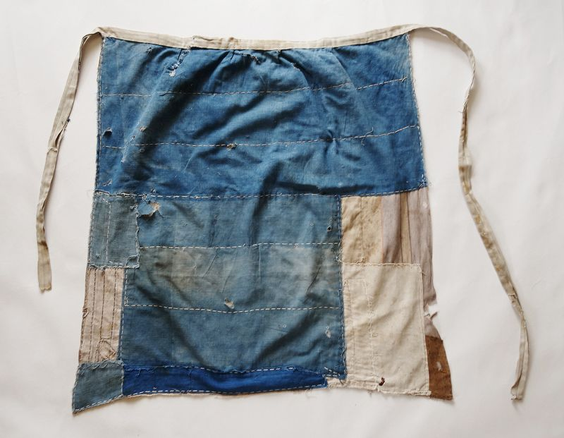 Japanese Vintage Textile Boro Cotton Mae-kake Apron