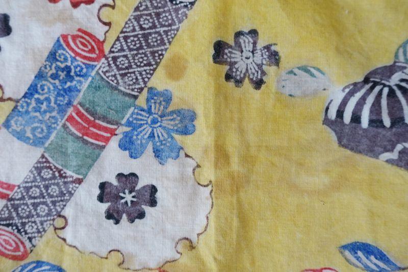 Japanese Vintage Textile Okinawan Bingata Furoshiki Wrapping Cloth