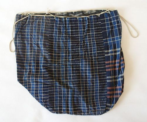 Japanese Vintage Textile Rice Bag Komebukuro Made of Cotton Indigo