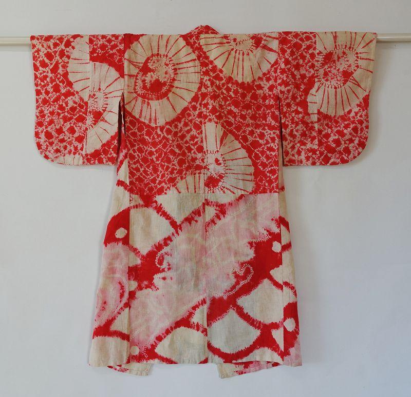 Japanese Vintage Textile Cotton Shibori Girl's Kimono