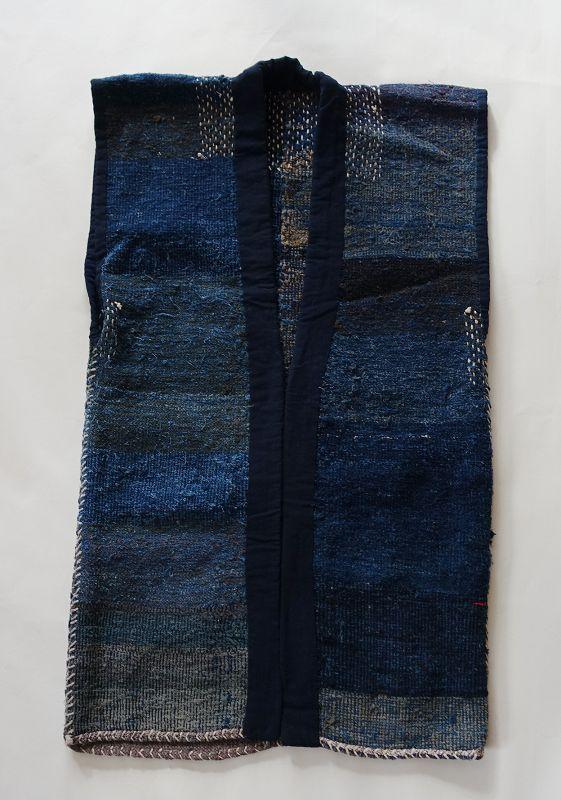 Japanese Vintage Folk Textile Sakiori Sodenashi Vest with Sashiko