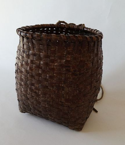 Japanese Vintage Folk Craft Mingei Basket Made of  Walnut  Bark