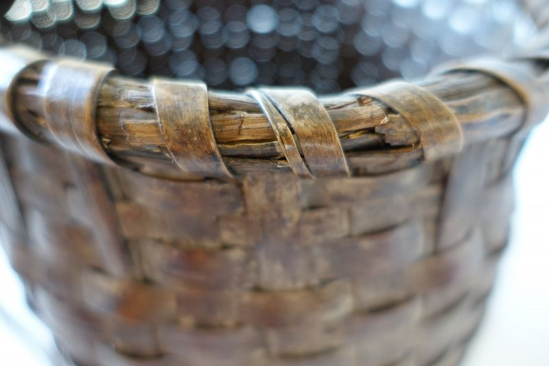 Japanese Vintage Folk Craft Mingei Basket Made of  Walnut  Bark