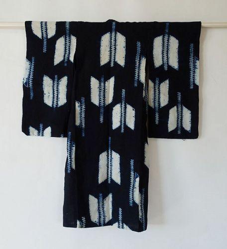 Japanese Vintage Textile Cotton Shibori Child's Kimono Indigo