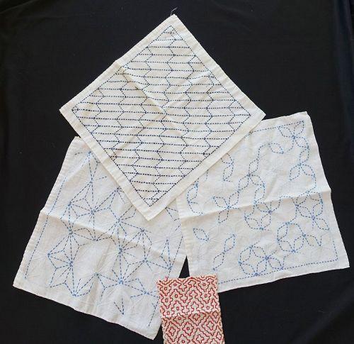 Japanese Vintage Textile Three Pieces of Kitchen Cloth with Sashiko