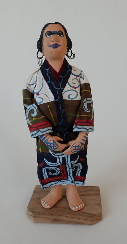 Japanese Folk Craft Ainu Doll Made of Clay, Cloth and Wood
