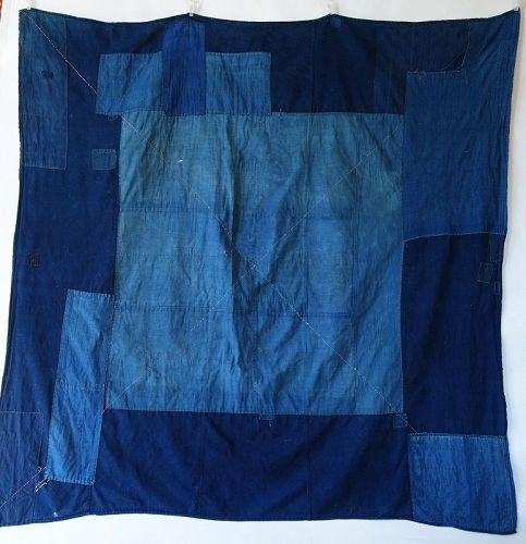 Japanese Antique Textile Boro Large Indigo Furoshiki with Sashiko