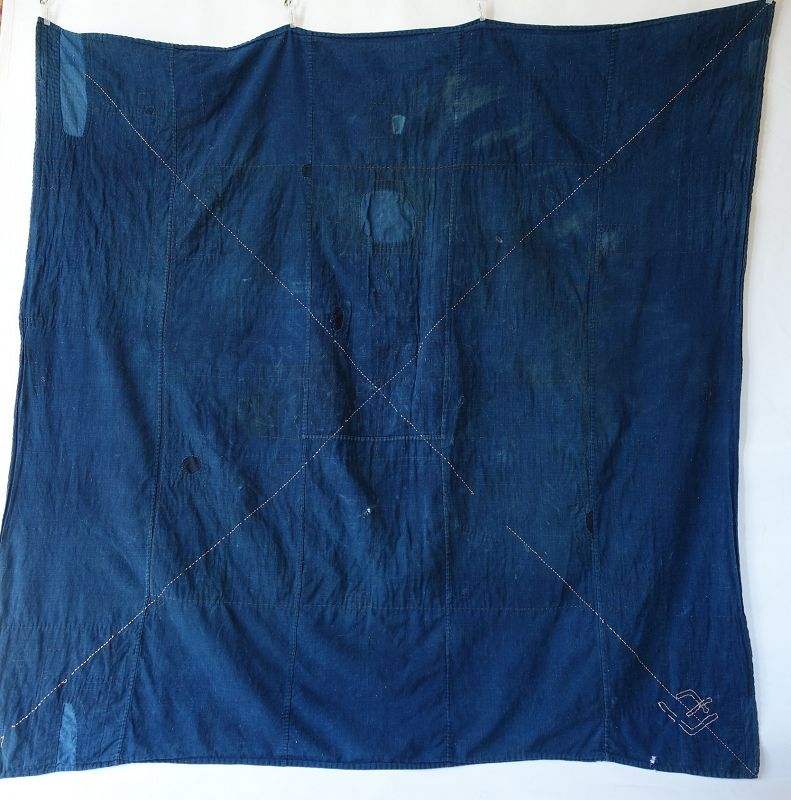 Japanese Antique Textile Boro Large Indigo Furoshiki with Sashiko