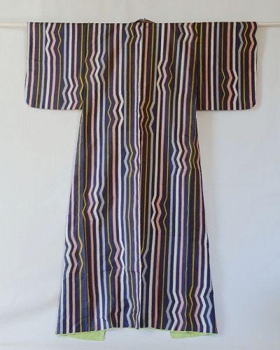 Japanese Vintage Textile Meisen Kimono with Geometric Stripe Pattern