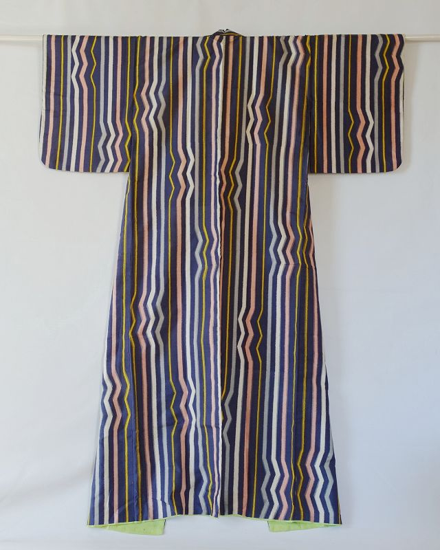 Japanese Vintage Textile Meisen Kimono with Geometric Stripe Pattern