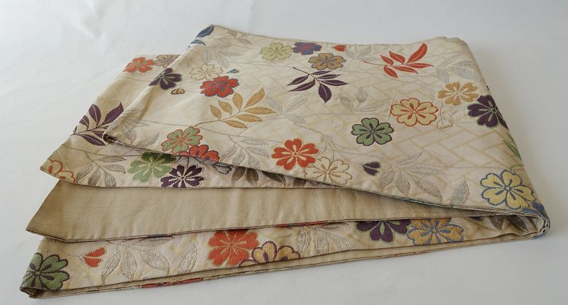 Japanese Vintage Textile Silk Sash Obi with Shidarezakura Motif