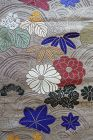 Japanese Vintage Maru Obi Sash with Autumn Motifs