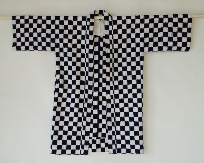 Japanese Vintage Textile Cotton Kurume Kasuri Hanten Checkerboard