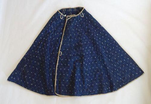 Japanese Antique Textile Cotton Kappa with Kasuri and Washi Lining