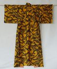 Japanese Vintage Textile Meisen with Rare Fish & Seaweed Pattern