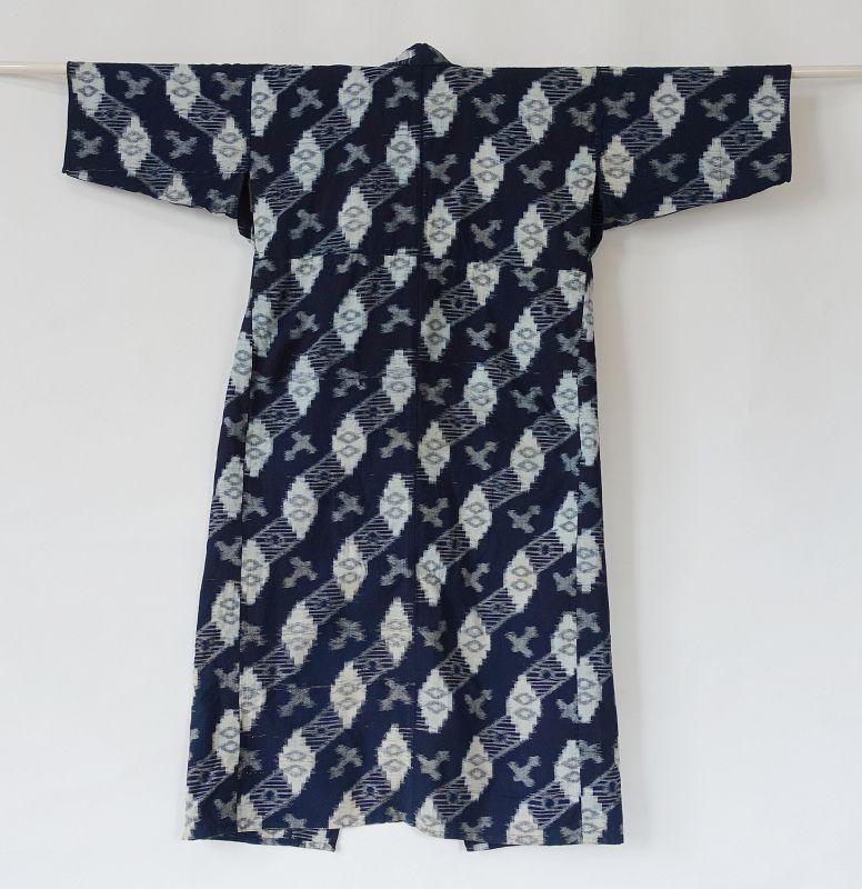 Japanese Vintage Textile Cotton Kasuri Kimono with Plane Motif
