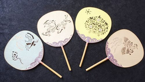 Japanese Vintage Paper Craft Nara Uchiwa with Traditional Motif