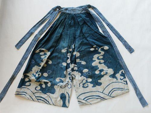 Japanese Antique Textile Cotton Hakama with Bold Wave Design Edo