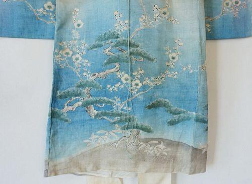 Japanese Antique Textile Girl's Asa Ceremonial Kimono with Charm